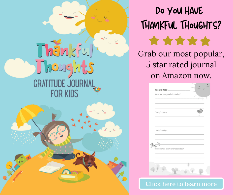thankful thoughts gratitude journal for kids