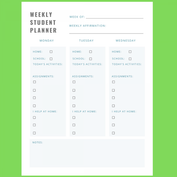 hybrid learning weekly planner
