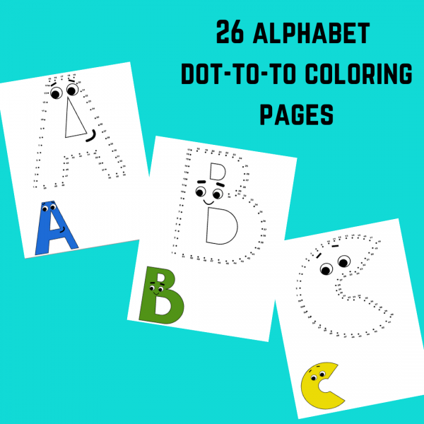 alphabet dot to dot coloring pages